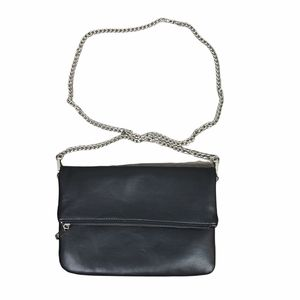 Forever 21 Black Crossbody Foldover Clutch with Silver Chain Strap